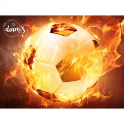 Ballon de foot en flamme -...