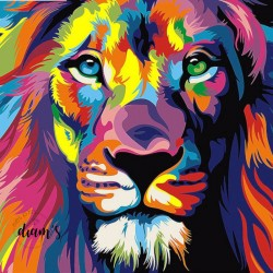Lion multicolore - Broderie...