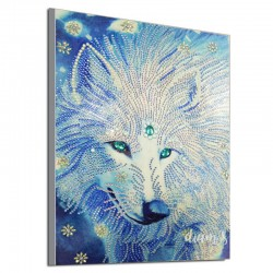 Loup dans les tons bleus -...