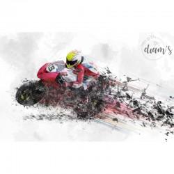 Moto style aquarelle -...