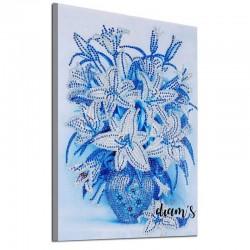 Vase de fleurs bleues -...