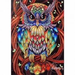 Hibou multicolore - Strass...