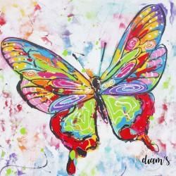 Papillon coloré - Toile...