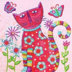 Chat fleuri et papillons -...