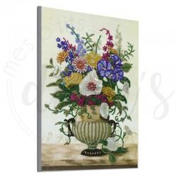 Vase de fleurs sur marbre -...